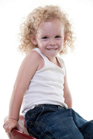 Cute young blond toddler jewish boy playing Stock Photo - 17934786