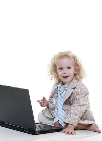 Cute young blond toddler jewish boy playing pretend Stock Photo - 17934778