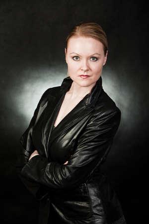 Attractive danish caucasian in leather attire Stok Fotoğraf
