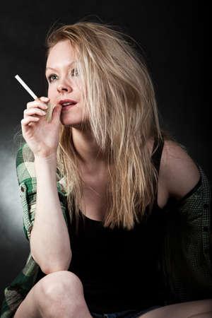 trashy: Attractive danish caucasian woman in white trashy lifestyle Stock Photo