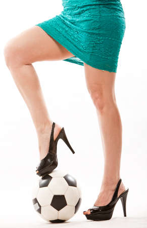 Legs of attractive soccer mom in her forties Stock Photo