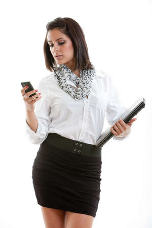 Pretty hispanic brunette business woman in her twenties photo