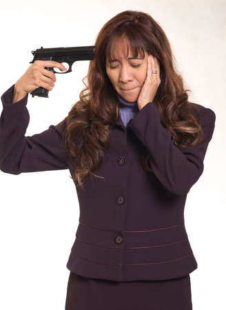 suicidal: Business woman  with suicidal intent