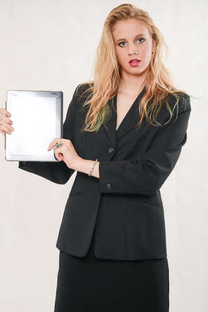 Pretty blond caucasian business woman