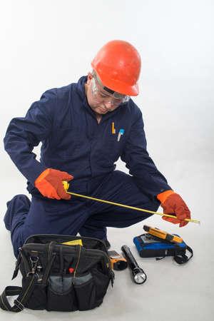 Attractive hispanic construction worker