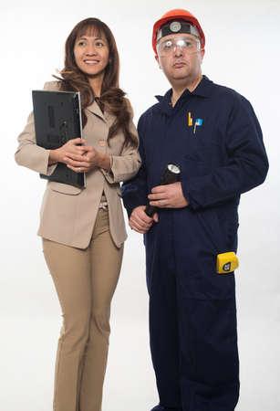 filipina: Attractive worker couple construction team Stock Photo