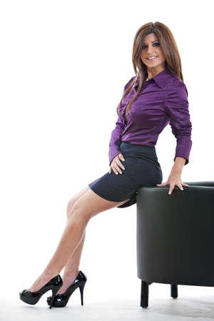Pretty brunette hispanic businesswoman photo