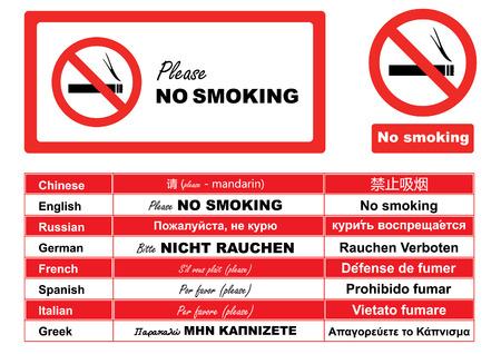 Niet roken-teken in verschillende talen