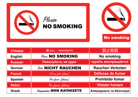 No Smoking Sign in different Languages Vector
