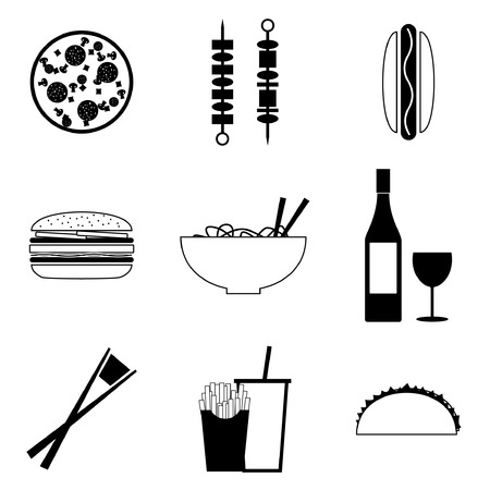 frites: Fast food icon Set Illustration