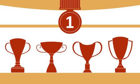 Emotional Trophy Icon Set Illustration