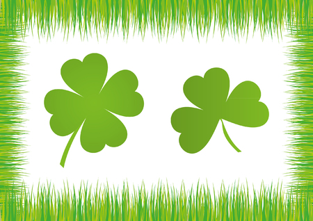 good fortune: Shamrock in Grass Frame Illustration