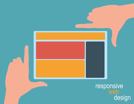 framing: Responsive Web Design, hands framing yellow template