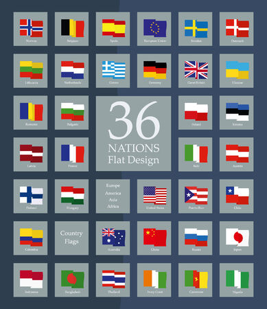 country flags: Country Flags flat Design Illustration