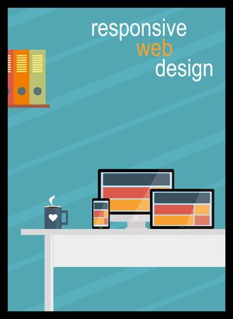 responsive design: Responsive Design Office Illustration Illustration