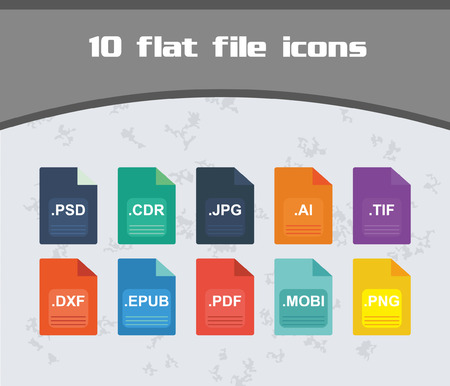psd: Colorful File Icon Set, flat Design