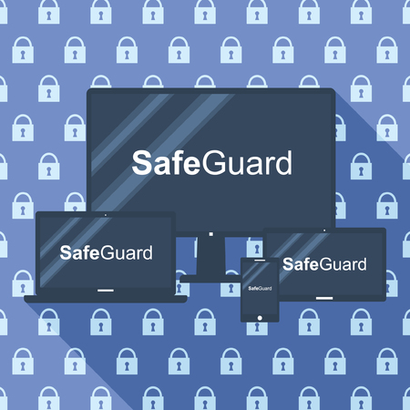 Safeguard Responsive Design Background with long Shadow Vector
