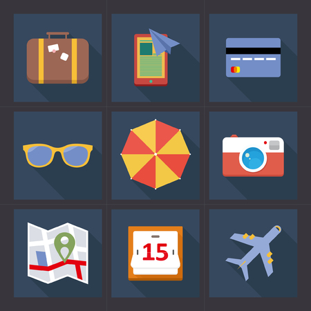 roadtrip: Travel Planning Flat Design Icon Set with long Shadow