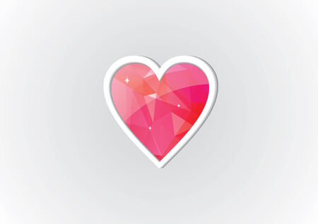 Diamond Heart Illustration - Poly Art Vector