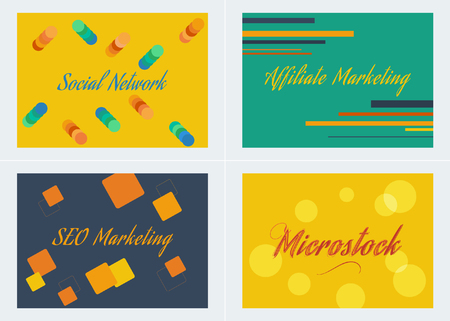 microstock: Social Network,Microstock, Affiliate and Seo Marketing Colorful Background Set
