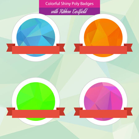 Colorful Low Poly Badges with Ribbon Vector