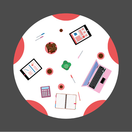 Conference room Top View Flat Design Vector