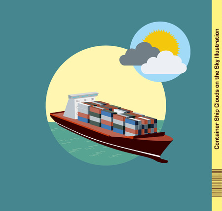 Container Ship Illustration Clouds on the Sky Illustration
