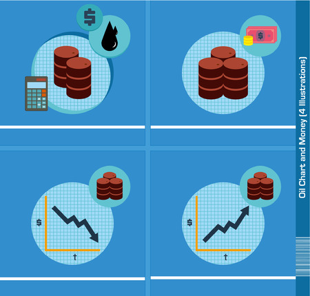 bourse: Oil Chart and Money - 4 Illustrations