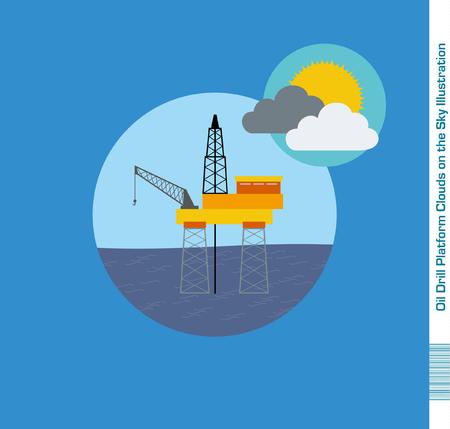 deep drilling: Oil Drill Platform Illustration Clouds on the Sky Illustration