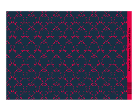 invitation barcode: Pink Blue Damask Pattern created with simple curved lines (mostly crescent shapes)