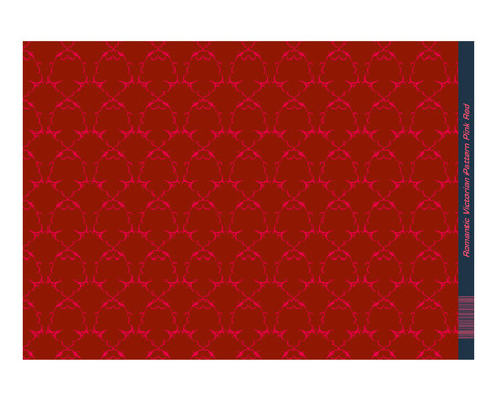 invitation barcode: Pink Red Damask Pattern created with simple curved lines (mostly crescent shapes)