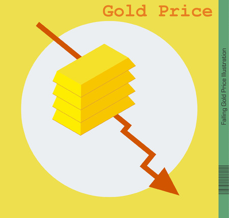 Falling Gold Price. Gold Bars placed over Arrow