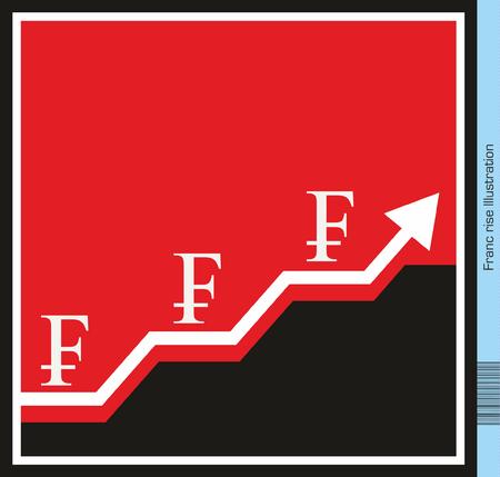 franc: Swiss Franc Exchange Rising Illustration