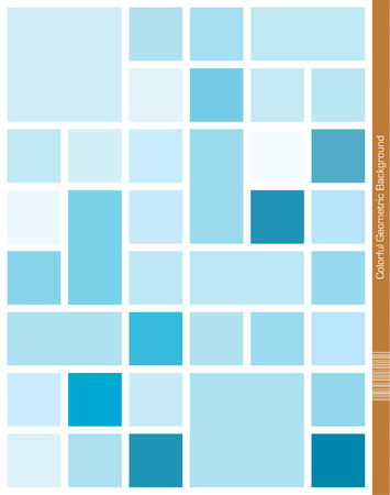 Blue mondrian style geometric Background.