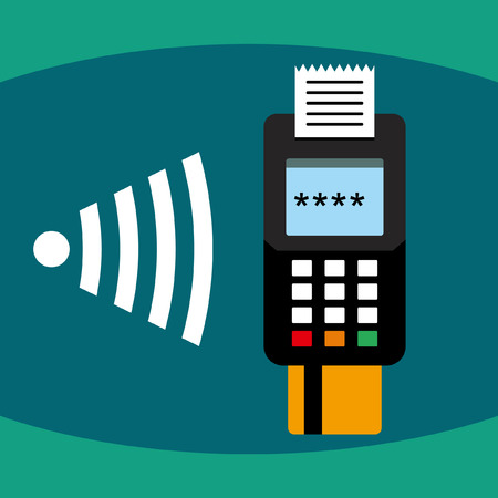 pos: Wireless POS terminal payment Illustration