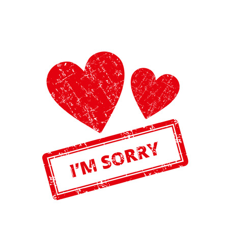 Im Sorry Rubber Stamp. With hearts icon. Illustration