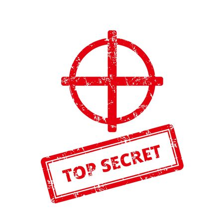 Top Secret Rubber Stamp. With mark icon.