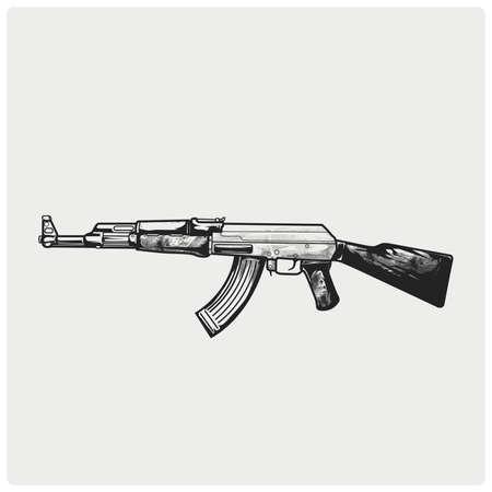 Assault rifle AK47 vector illustration