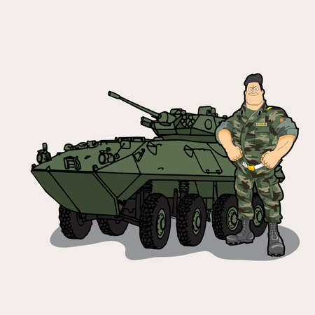 A cartoon military soldier with a tank Illustration