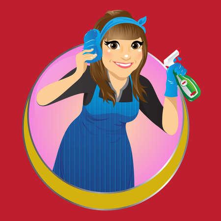 illustrazione vettoriale di un servizio di pulizia Vettoriali