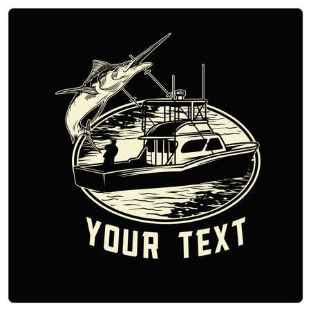 Vector vintage fisherman for logo design in sea