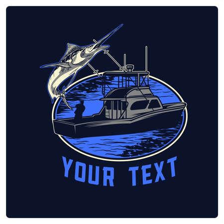 Vettore pescatore per la progettazione del logo in mare