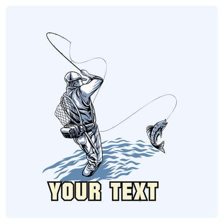 Il pescatore ha catturato un punto, illustrazione vettoriale