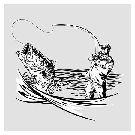 Pêcheur vintage de vecteur pour la conception de logo en mer Logo