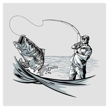 바다에서 로고 디자인을위한 벡터 빈티지 어부