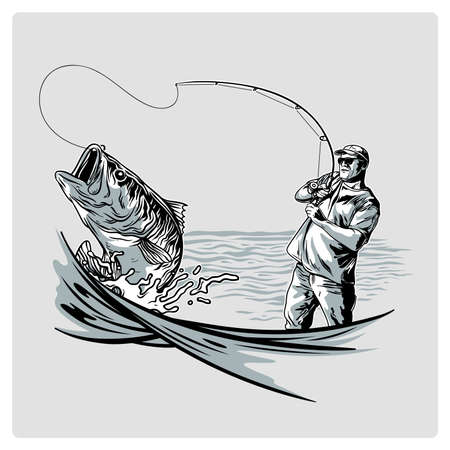 Vector vintage fisherman for logo design in sea Illustration