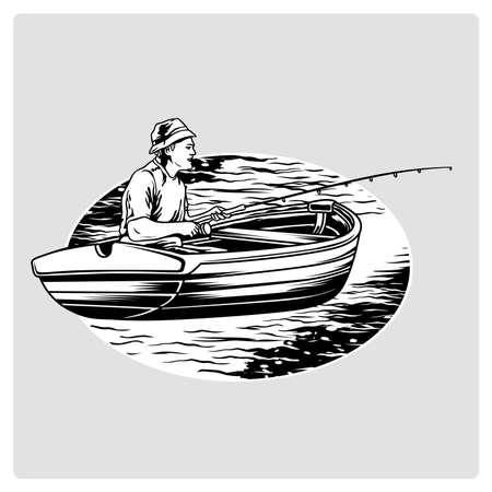 Pêche sur le bateau. Vector illustration.