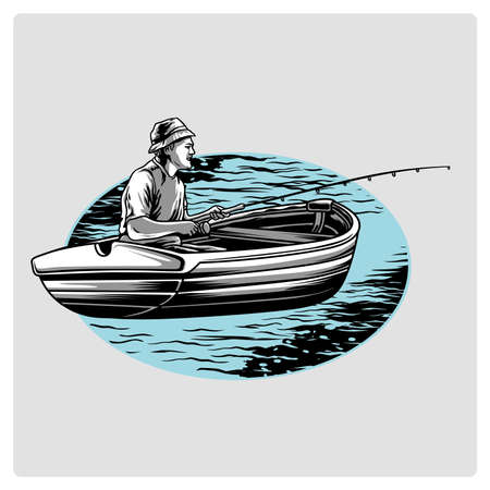 Fishing on the boat. Vector illustration.