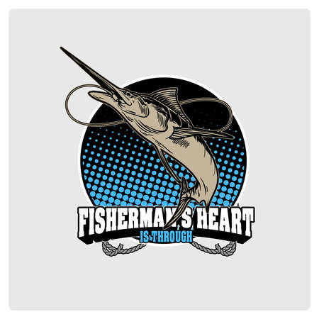 marline: . Logo for fisherman. fish on a fishing hook illustration.