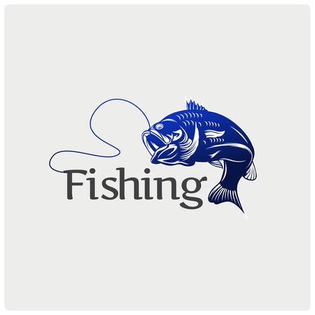 Modern vector fishing logo. Logo for fisherman. fish on a fishing hook illustration.